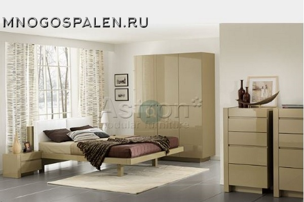 Модульная глянцевая спальня J109 Астрон купить в салоне-студии мебели Барселона mnogospalen.ru много спален мебель Италии классические современные